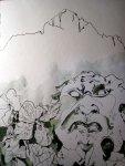 Über alles stehen die Berge - Zeichnung von Susanne Haun