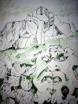 Naturgewalt Berg - Zeichnung von Susanne Haun - 48 x 36 cm - Tusche auf Bütten