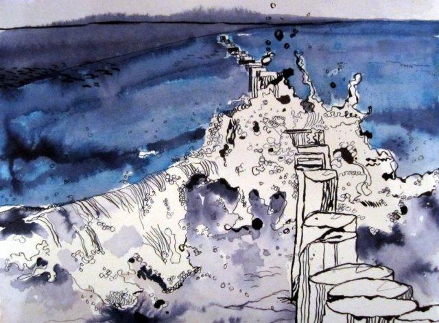 Die Kraft der Welle - Zeichnung von Susanne Haun - 24 x 32 cm - Tusche auf Bütten
