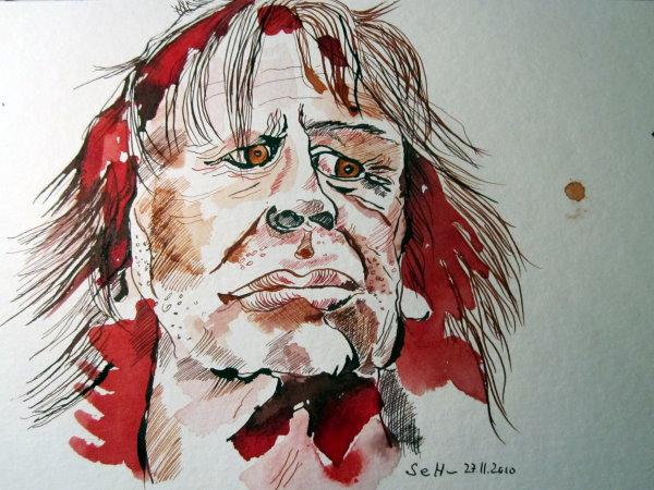 Klaus Kinski - Zeichnung von Susanne Haun - Tusche auf Bütten - 24 x 32 cm