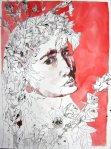 Ophelia - Zeichnung von Susanne Haun - Tusche auf Bütten - 80 x 60 cm