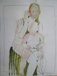 """Der Rahmen schließt die Zeichnung """"Heilig"""" - Zeichnung von Susanne Haun - 70 x 50 cm - Tusche auf Bütten"""