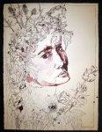 Entstehung Ophelia - Zeichnung von Susanne Haun - Tusche auf Bütten - 80 x 60 cm