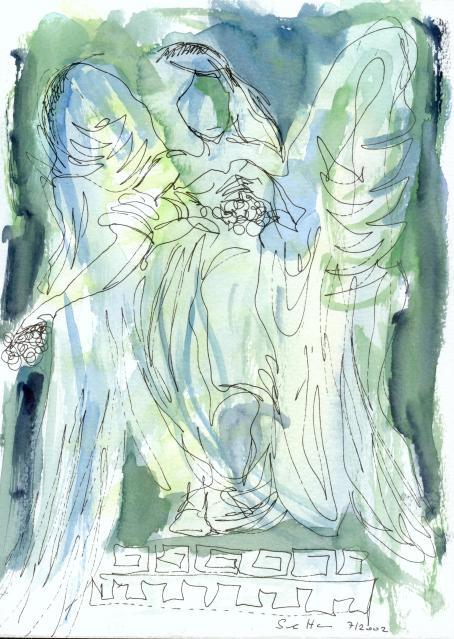 Blumenengel 2003 - Zeichnung/ Aquarell von Susanne Haun - Radiograph und Aquarell auf Bütten, Sammlung Nicola Stenzel