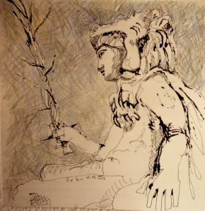 In den Krieg - 2002 - Zeichnung von Susanne Haun - 20 x 20 cm - Radiograph und Buntstift