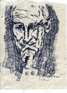 1.7.2001 - Zeichnung von Susanne Haun - A5 aus Buch gerissen - Radiograph