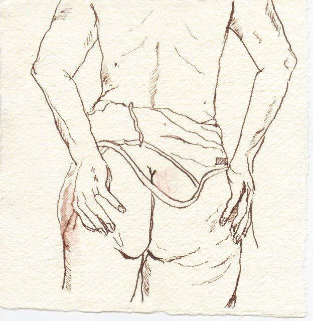 Rückenakt - Zeichnung von Susanne Haun - 15 x 15 cm - Tusche auf Bütten