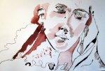 Den Engel setze ich rechts auf das BLatt - Zeichnung von Susanne Haun