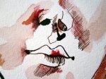 Ich belebe das Gesicht mit Krapprot und Persischroten Linien - Zeichnung von Susanne Haun