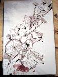 Blumenstrauß mit Schatten des Motivs - Foto / Zeichnung von Susanne Haun