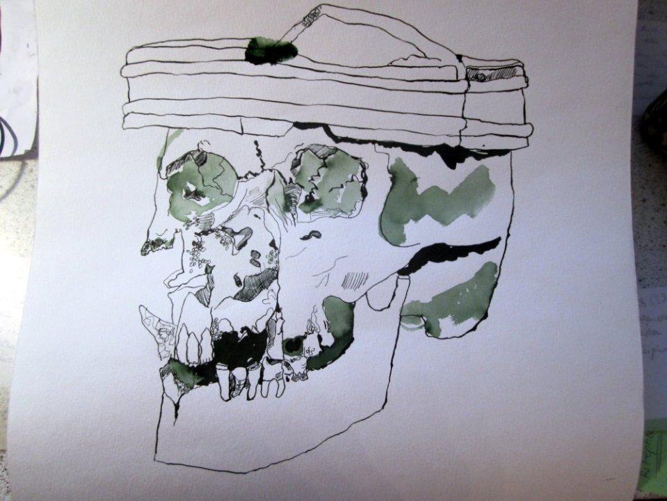Der Totenschädel bekommt eine Krone - Zeichnung von Susanne Haun