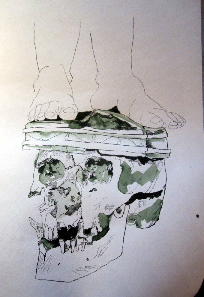 Ich setze meine Füße (es werden des Engels Füße) auf den Schädel - Zeichnung von Susanne Haun