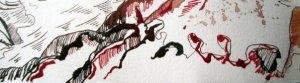 Die roten und braunen Linien wirken sehr lebendig - Ausschnitt Zeichnung Susanne Haun