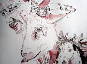 """Mann, Ziege und Pferd - Ausschnitt Zeichnung """"Athena"""" von Susanne Haun"""