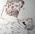 """Ich belebe die Gesichter mit Tusche der Farbe """"Persisch Rot"""" - Zeichnung von Susanne Haun"""