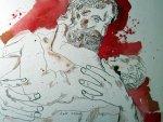 Zeus und Athene - Vater und Tochter - Zeichnung von Susanne Haun - 24 x 32 cm - Tusche auf Bütten
