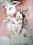 Athena - Zeichnung von Susanne Haun - 70 x 50 cm - Tusche auf Bütten