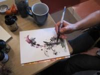 Cordula möchte soviel Frühling wie möglich zeichnen - Foto von Susanne Haun