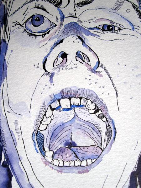 Es macht Spaß mit den Aquarellfarben die Eigenheiten des Gesichtes herauszuarbeiten - Zeichnung von Susanne Haun
