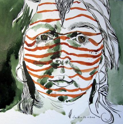 Selbst - Streifend - Zeichnung von Susanne Haun - 25 x 25 cm - Tusche auf Bütten