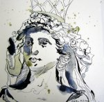 Die Säulenträgerin - Zeichnung von Susanne Haun 20 x 20 cm - Tusche auf Bütten