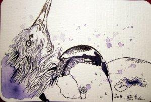 Ab in die Welt - Zeichnung von Susanne Haun - 10 x 15 cm - Tusche auf Hahnemühlepostkarten