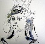 Entstehung Säulenträgerin - Zeichnung von Susanne Haun
