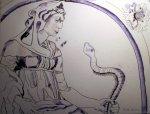 Die Schlangenbeschwörerin - Zeichnung von Susanne Haun - 30 x 40 cm - Tusche auf Bütten