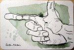 Rechte Hand - Zeichnung von Susanne Haun- 10 x 15 cm - Tusche auf Hahnemühle Postkarte