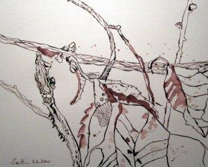 Laub an der Weddinger Nazarethkirche - Zeichnung von Susanne Haun - 24 x 32 cm - Tusche auf Bütten
