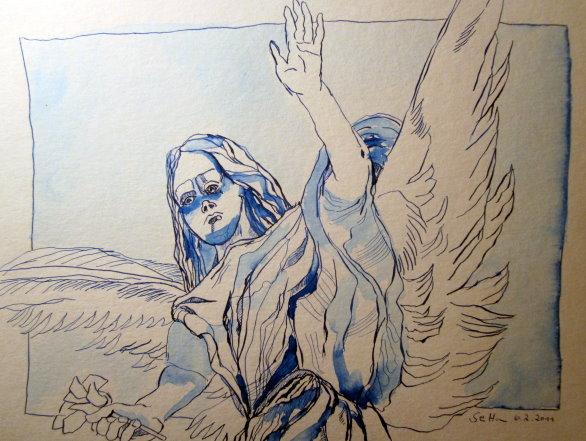 Evitas Engel - Zeichnung von Susanne Haun - 24 x 32 cm Tusche auf Bütten