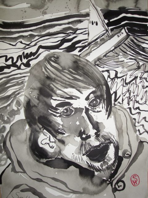 Wie mein älterer Bruder der Vernichtung entrann, kann ich nicht sagen - Illustration von Susanne Haun nach E.A.Poes - 80 x 60 cm - Tusche auf Bütten