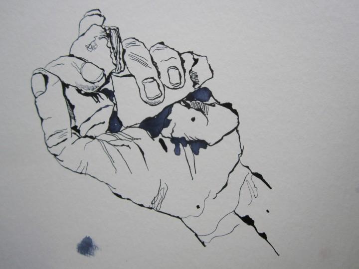 Da ich keinen handgroßen Stein hatte, habe ich mehrere kleine in die Hand genommen - Zeichnung von Susanne Haun