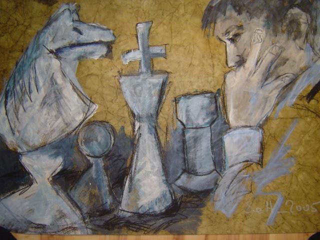 2005: Schachspieler Weiss - Zeichnung von Susanne Haun - 60 x 80 cm , Ölkreide und Acryl auf handgeschöpften Büttenpapier