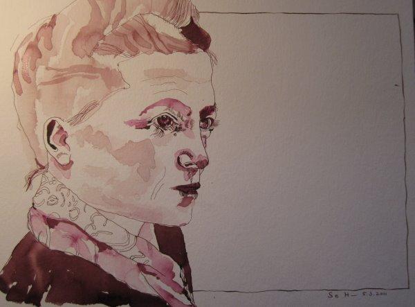 Mein Sinnbild von Simone de Beauvoir - Zeichnung von Susanne Haun - 30 x 40 cm - Tusche auf Bütten