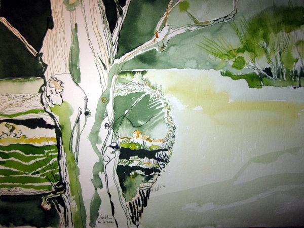 Furt der Wache - Zeichnung von Susanne Haun - 30 x 40 cm - Tusche auf Bütten