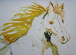 Ausschnitt Pferd - Zeichnung von Susanne Haun 24 x 32 cm - Tusche auf Bütten