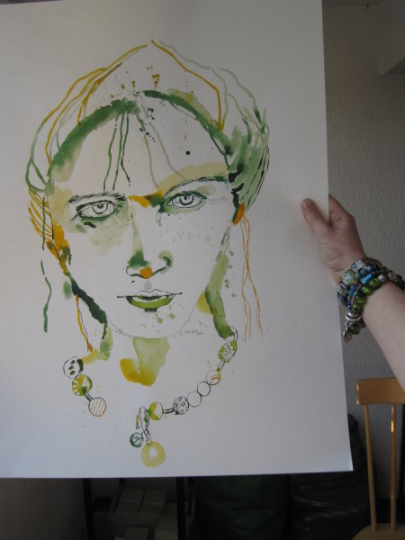 Ich bin zufrieden - morgen geht es weiter - Gesicht - Zeichnung von Susanne Haun - 70 x 50 cm - Tusche auf Bütten