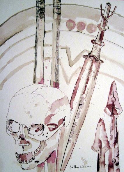 Übergabe der Waffen - Zeichnung von Susanne Haun - 40 x 30 cm - Tusche auf Bütten
