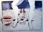 Zwischen den zwei Füssen - Zeichnung von Susanne Haun - 30 x 40 cm - Tusche auf Bütten