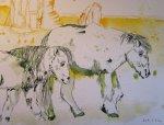 Entstehung Zwei Pferde auf der Weide - Zeichnung von Susanne Haun - 30 x 40 cm - Tusche auf Bütten