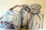 Stilleben mit Muschel - Zeichnung von Susanne Haun - 30 x 40 cm - Blei- und Buntstift auf Papier