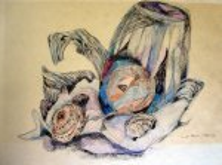 Stilleben - Zeichnung von Susanne Haun - 50 x 70 cm - Blei- und Buntstift auf Papier