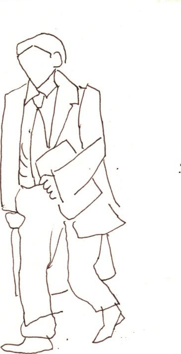 Menschen mit Gepäck Blatt 1 - 15 x 15 cm - Tusche auf Skizzenblock von Susanne Haun