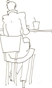 Menschen mit Gepäck Blatt 2 - 15 x 15 cm - Tusche auf Skizzenblock von Susanne Haun