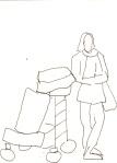 Menschen mit Gepäck Blatt 7 - 15 x 15 cm - Tusche auf Skizzenblock von Susanne Haun