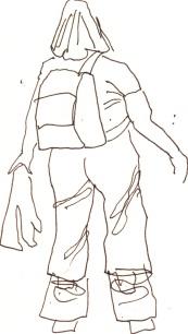 Menschen mit Gepäck Blatt 8 - 15 x 15 cm - Tusche auf Skizzenblock von Susanne Haun
