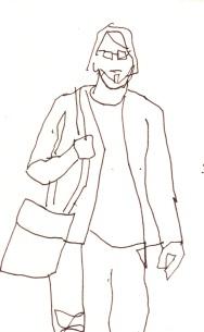 Menschen mit Gepäck Blatt 9 - 15 x 15 cm - Tusche auf Skizzenblock von Susanne Haun