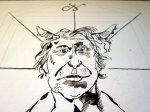 Den Teufel schräg fotografiert - Zeichnung von Susanne Haun