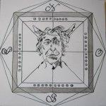 Windrose schwarz - der Teufel - Zeichnung von Susanne Haun - 25 x 25 cm - Tusche auf Bütten